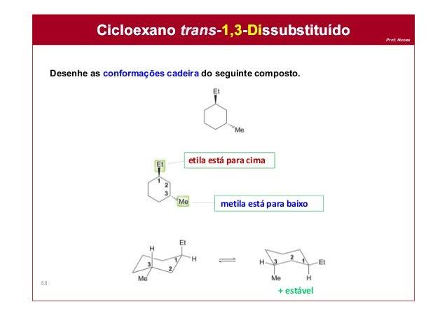 Prof. Nunes Desenhe as conformações cadeira do seguinte composto. Cicloexano trans-1,3-DissubstituídoCicloexano trans-1,3-...