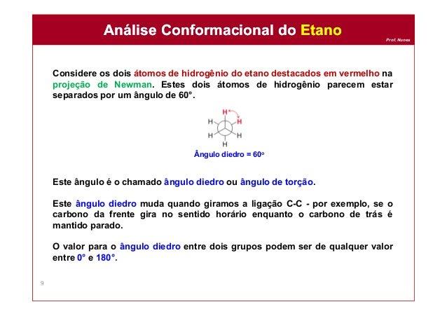 Prof. Nunes Considere os dois átomos de hidrogênio do etano destacados em vermelho na projeção de Newman. Estes dois átomo...