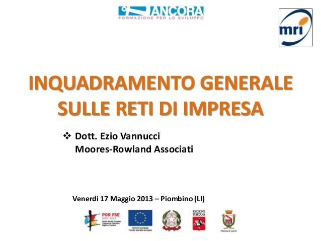 INQUADRAMENTO GENERALESULLE RETI DI IMPRESA Dott. Ezio VannucciMoores-Rowland AssociatiVenerdì 17 Maggio 2013 – Piombino ...
