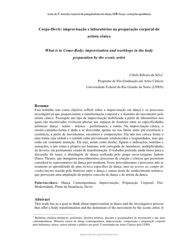 anais do 2o encontro nacional de pesquisadores em dança (2011) Dança: contrações epistêmicas      Corpo-Devir: improvisaçã...