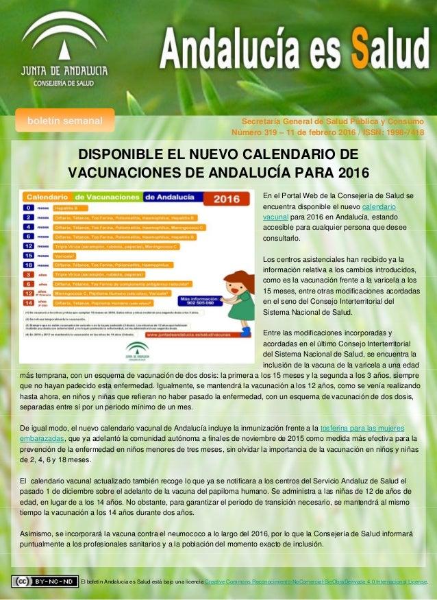 Calendario Vacunal Andalucia.Andalucia Es Salud Num 319 Calendario De Vacunaciones De Andalucia P