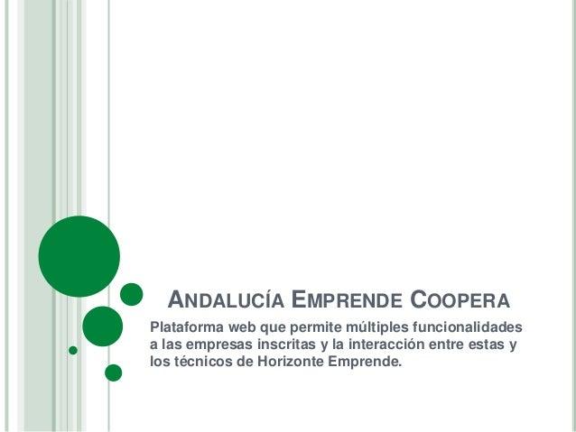 ANDALUCÍA EMPRENDE COOPERA  Plataforma web que permite múltiples funcionalidades  a las empresas inscritas y la interacció...
