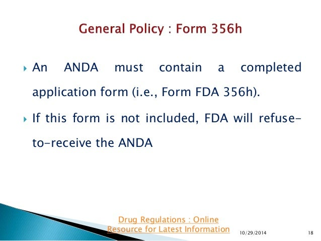 ANDA Submissions : When will FDA Refuse to Accept an ANDA