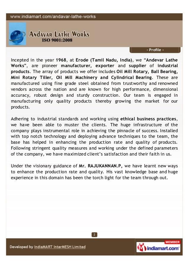 Andavar Lathe Works, Erode , Oil Mill Rotary Slide 2