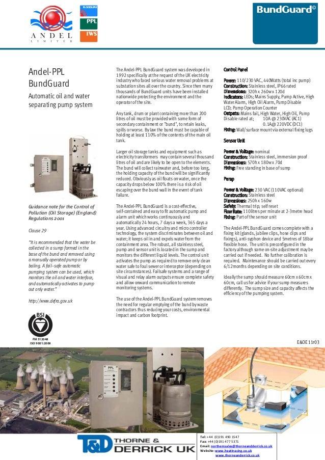 BundGuard  FLOODLINE  IWS  Andel-PPL BundGuard Automatic oil and water separating pump system  The Andel-PPL BundGuard sys...