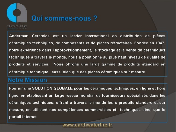 Anderman Ceramiques Industrielles présentation Slide 2