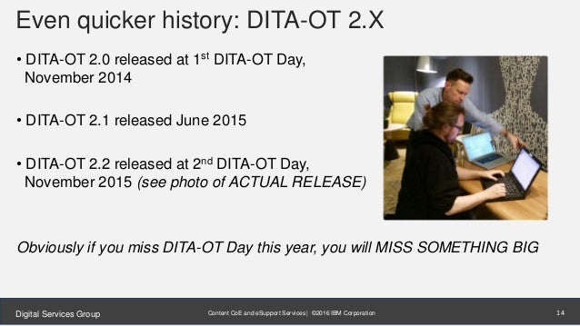 Content CoE and eSupport Services | ©2016 IBM CorporationDigital Services Group Even quicker history: DITA-OT 2.X • DITA-O...