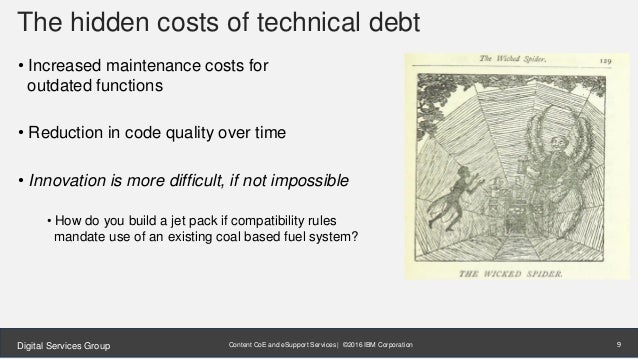 Content CoE and eSupport Services | ©2016 IBM CorporationDigital Services Group The hidden costs of technical debt • Incre...