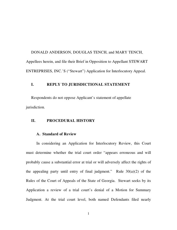 DONALD ANDERSON, DOUGLAS TENCH, and MARY TENCH,  Appellees herein, and file their Brief in Opposition to Appellant STEWART...
