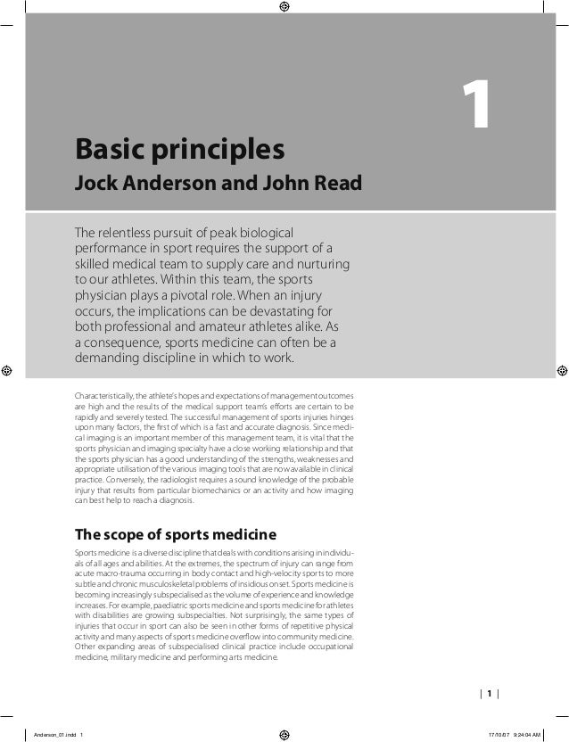 | 1 | 1Basic principles Jock Anderson and John Read The relentless pursuit of peak biological performance in sport require...