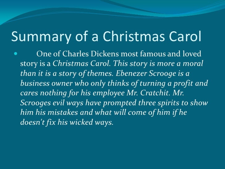 a summary on the story a christmas carol by dickens