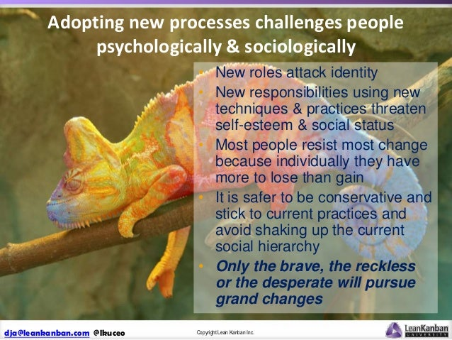 Adopting new processes challenges people psychologically & sociologically • New roles attack identity • New responsibiliti...