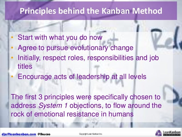 Principles behind the Kanban Method • Start with what you do now • Agree to pursue evolutionary change • Initially, respec...