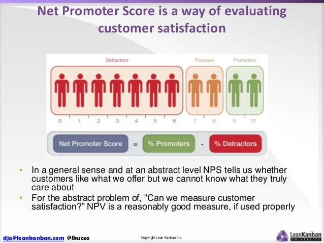 Net Promoter Score is a way of evaluating customer satisfaction  • In a general sense and at an abstract level NPS tells u...