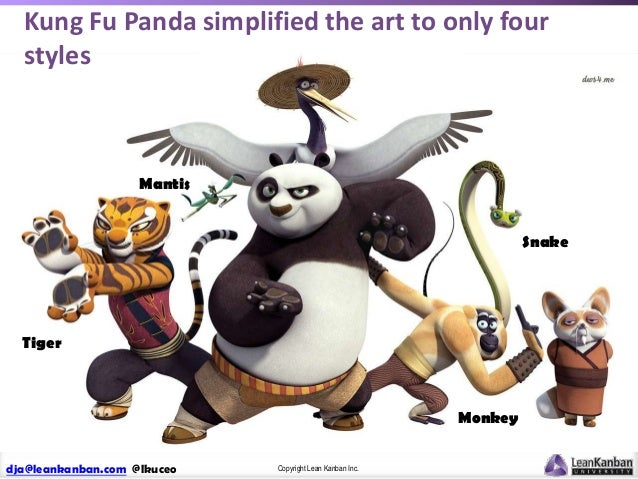 Kung Fu Panda simplified the art to only four styles  Mantis Snake  Tiger  Monkey dja@leankanban.com @lkuceo  Copyright Le...