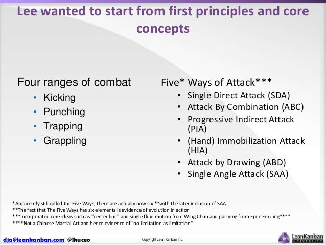 Lee wanted to start from first principles and core concepts  Four ranges of combat • • • •  Kicking Punching Trapping Grap...