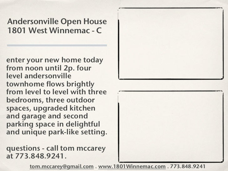 Andersonville Open House1801 West Winnemac - Center your new home todayfrom noon until 2p. fourlevel andersonvilletownhome...