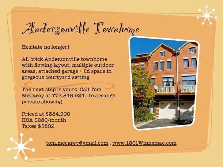 Andersonville TownhomeHesitate no longer!All brick Andersonville townhomewith flowing layout, multiple outdoorareas, attach...