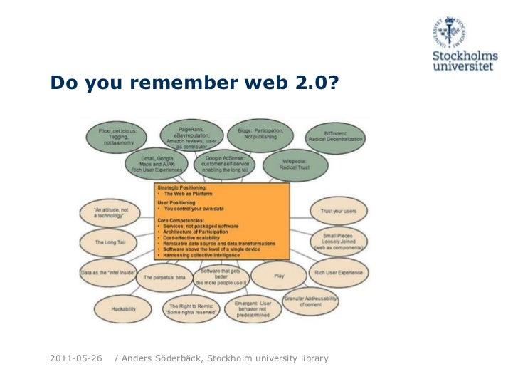 Do youremember web 2.0?<br />2011-05-26<br />/ Anders Söderbäck, Stockholm universitylibrary<br />