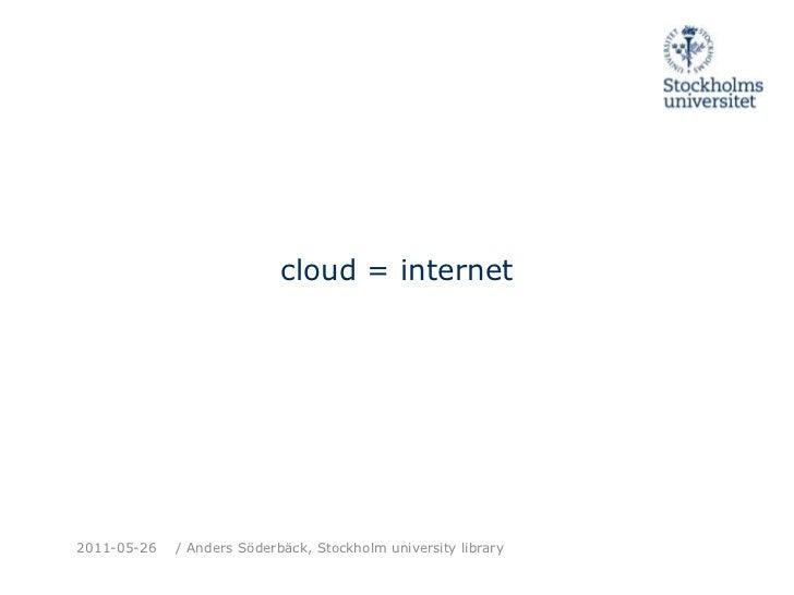 cloud = internet<br />2011-05-26<br />/ Anders Söderbäck, Stockholm universitylibrary<br />