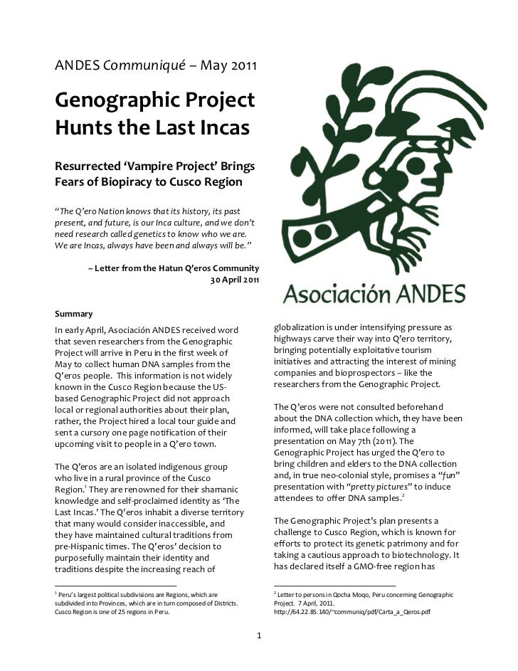 ANDES Communiqué – May 2011Genographic ProjectHunts the Last IncasResurrected 'Vampire Project' BringsFears of Biopiracy t...