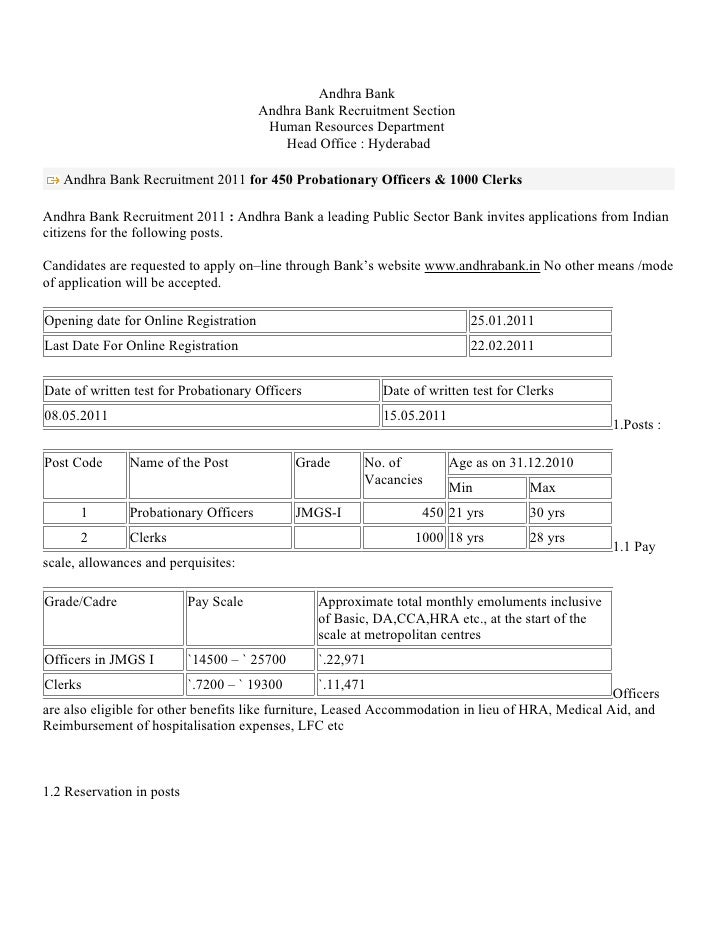Andhra Bank                                       Andhra Bank Recruitment Section                                        H...
