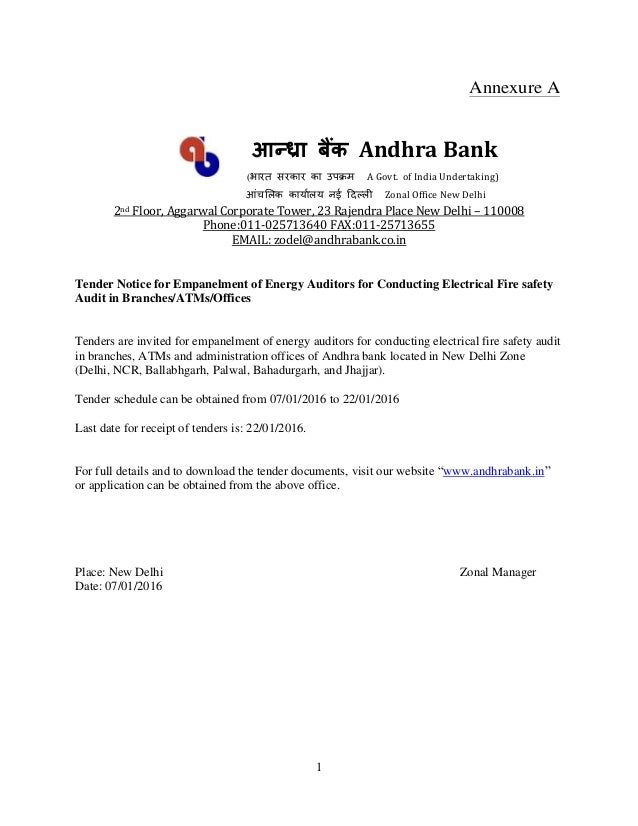 1 Annexure A आन्ध्रा बैंक Andhra Bank (भारत सरकार का उपक्रम A Govt. Of ...