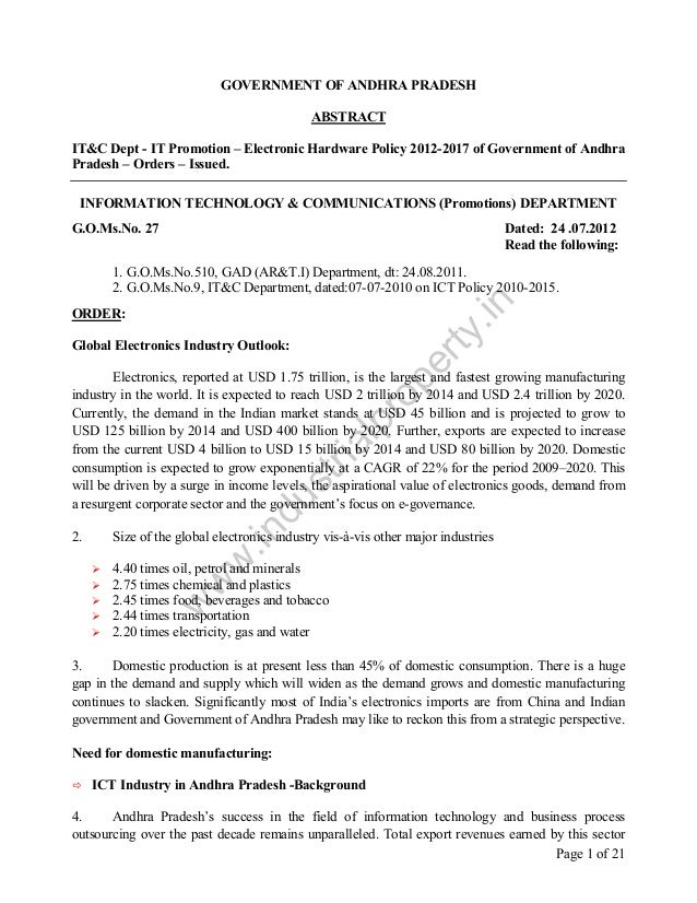 GOVERNMENT OF ANDHRA PRADESH ABSTRACT IT&C Dept - IT Promotion – Electronic Hardware Policy 2012-2017 of Government of And...
