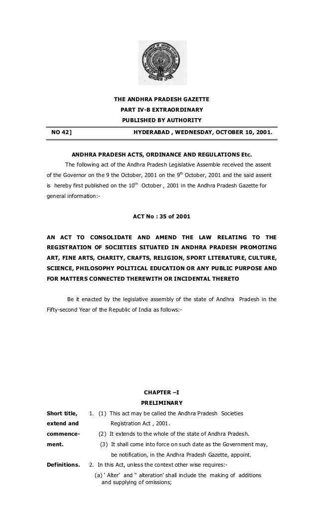 andhra pradesh societies registration act 2001