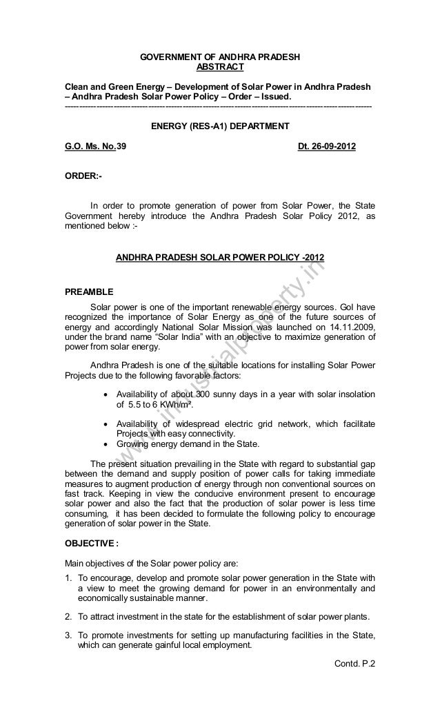 GOVERNMENT OF ANDHRA PRADESH ABSTRACT Clean and Green Energy – Development of Solar Power in Andhra Pradesh – Andhra Prade...