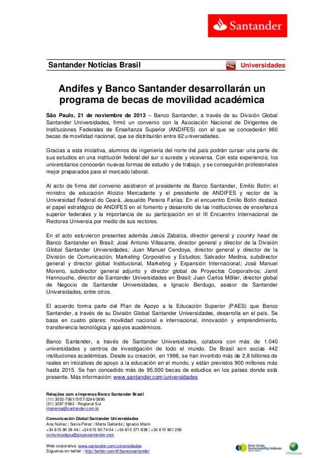 Santander Noticias Brasil  Universidades  Andifes y Banco Santander desarrollarán un programa de becas de movilidad académ...