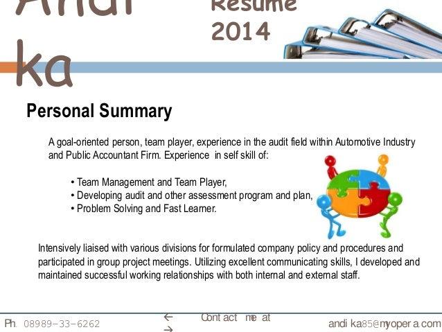 ... 3. Andi Ka Resume 2014 Personal Summary ...  Resume Personal Summary