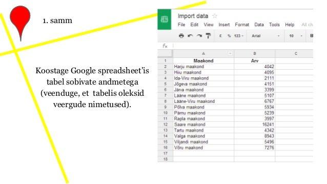 Koostage Google spreadsheet'is tabel sobivate andmetega (veenduge, et tabelis oleksid veergude nimetused). 1. samm