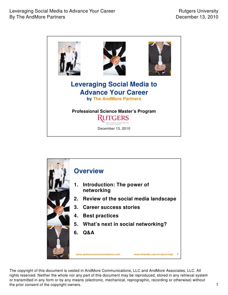 Leveraging Social Media to Advance Your Career                                                            Rutgers Universi...