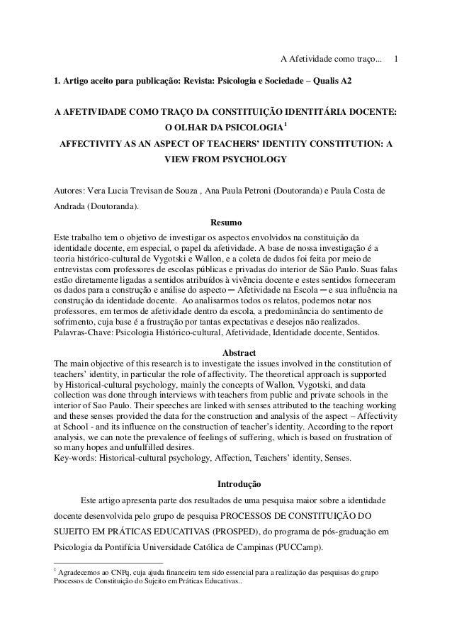 A Afetividade como traço... 1 1. Artigo aceito para publicação: Revista: Psicologia e Sociedade – Qualis A2 A AFETIVIDADE ...