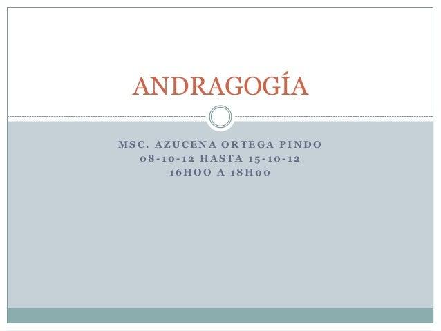 ANDRAGOGÍAMSC. AZUCENA ORTEGA PINDO  08-10-12 HASTA 15-10-12       16HOO A 18H00