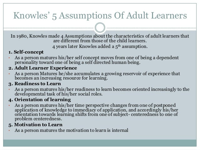 Knowles Theory Of Adult Learning 66