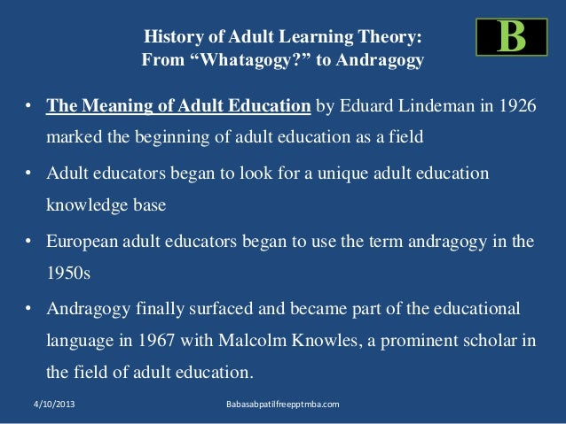 The Principles of Adult Learning Theory