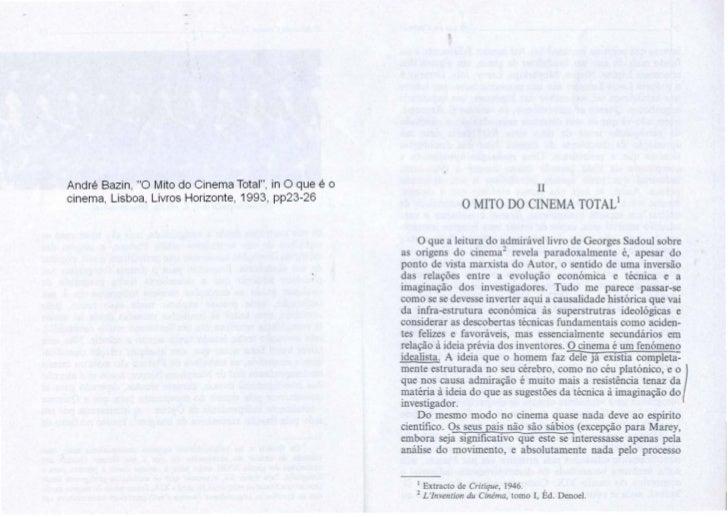 """Andre Bazin, """"0 Mito do Cinema Total"""", in 0 que e o                                        IIcinema, Lisboa, Livros Horizo..."""