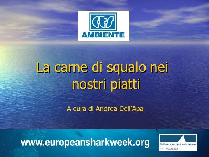 <ul><li>La carne di squalo nei nostri piatti </li></ul>A cura di Andrea Dell'Apa