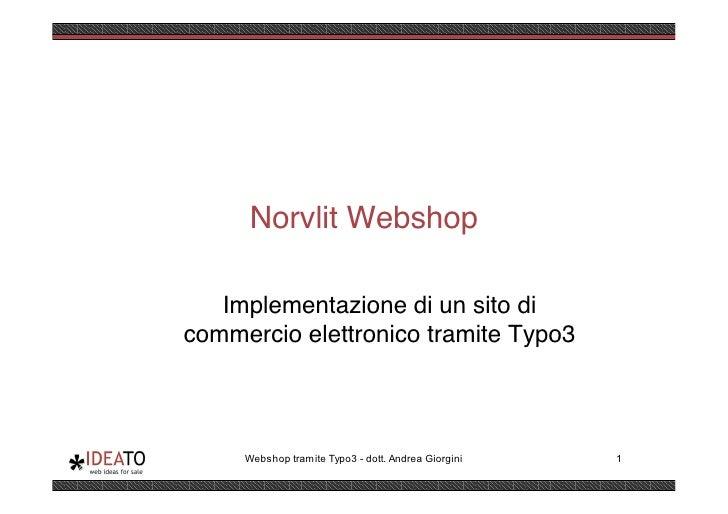 Norvlit Webshop     Implementazione di un sito di commercio elettronico tramite Typo3         Webshop tramite Typo3 - dott...