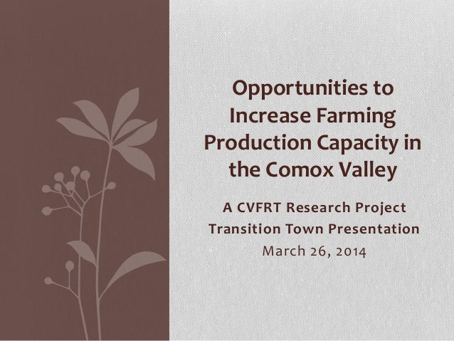 A CVFRT Research Project Transition Town Presentation March 26, 2014 Opportunities to Increase Farming Production Capacity...