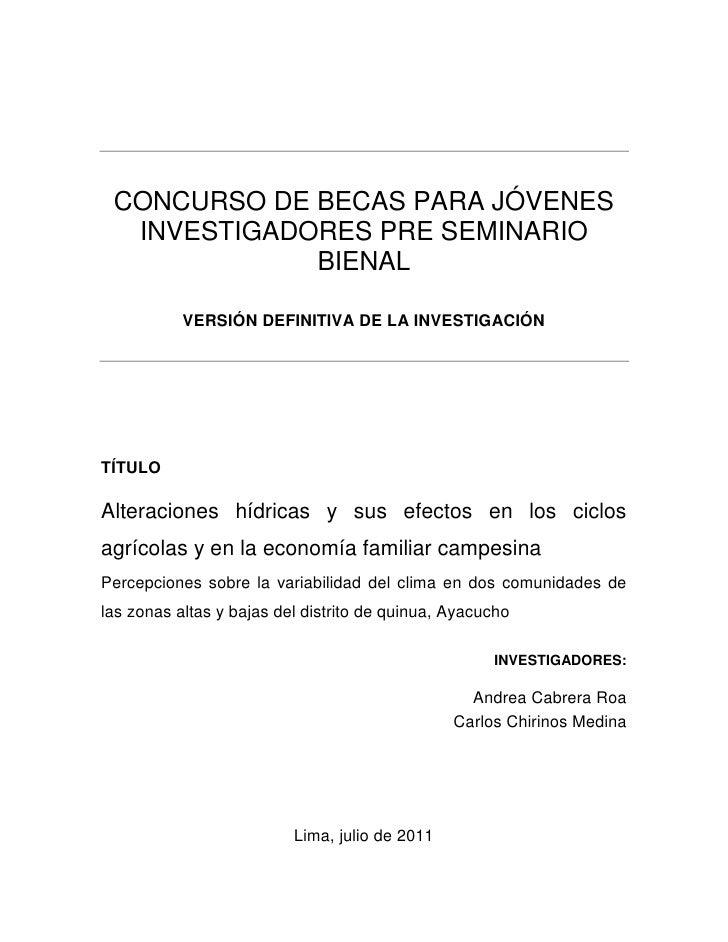 CONCURSO DE BECAS PARA JÓVENES  INVESTIGADORES PRE SEMINARIO             BIENAL           VERSIÓN DEFINITIVA DE LA INVESTI...