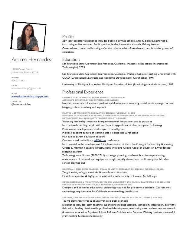 Andrea Hernandez 14418 Pavion Court Jacksonville, Florida 32223 PHONE 904-237-8401 EMAIL edtechworkshop@gmail.com BLOG www...