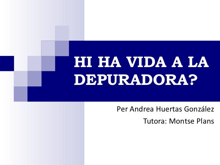 HI HA VIDA A LA DEPURADORA? Per Andrea Huertas González Tutora: Montse Plans