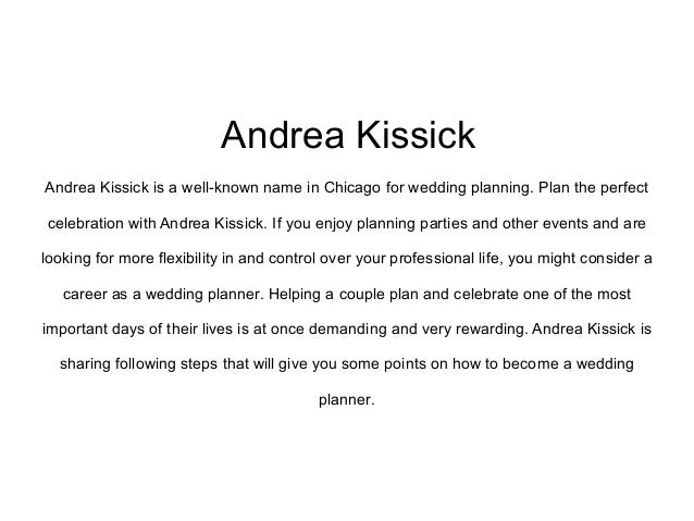 andrea kissick how to be a perfect wedding planner