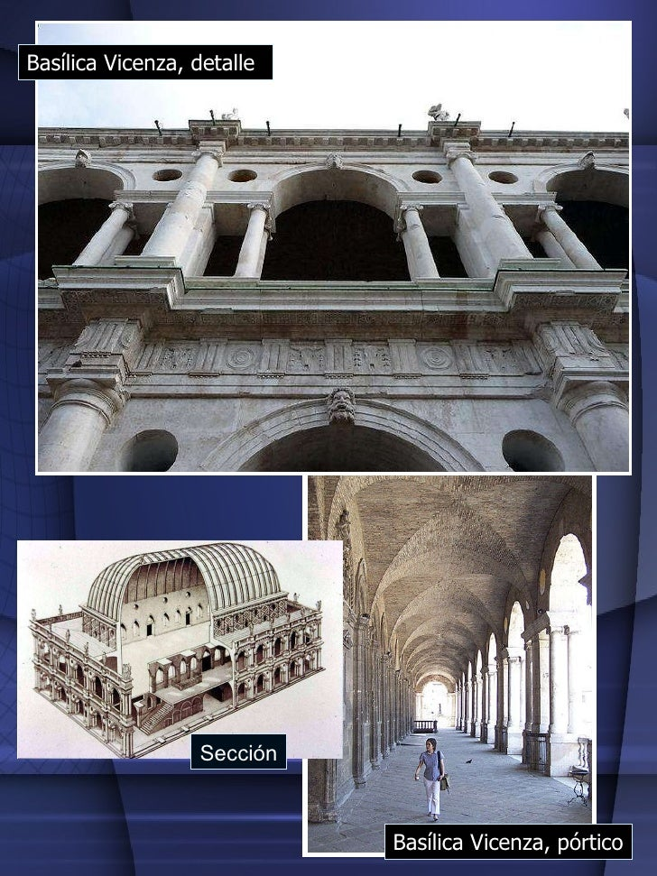 Basílica Vicenza, pórtico Basílica Vicenza, detalle Sección