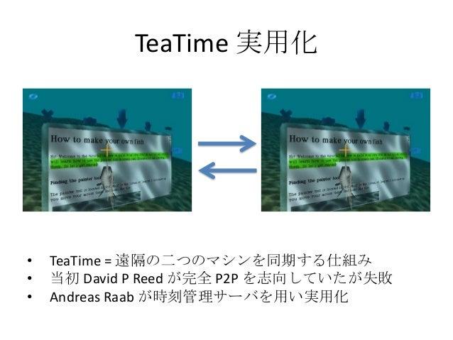 TeaTime 実用化•   TeaTime = 遠隔の二つのマシンを同期する仕組み•   当初 David P Reed が完全 P2P を志向していたが失敗•   Andreas Raab が時刻管理サーバを用い実用化