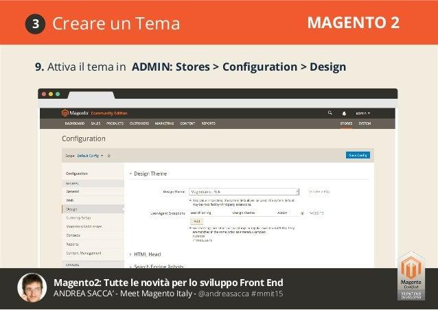 Magento2: Tutte le novità per lo sviluppo Front End ANDREA SACCA' - Meet Magento Italy - @andreasacca #mmit15 Novità del D...