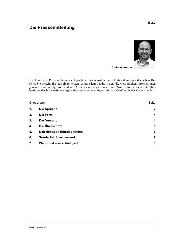 E 2.2 Die Pressemitteilung                                                                    Andreas Archut    Die klassi...